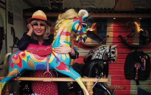 Joanna Lumley with Stevenson Brothers Rocking Horse