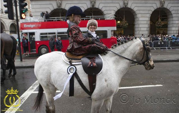 Rosie-with-rehomer-Megan-at-the-London-New-Years-Day-Parade-2014
