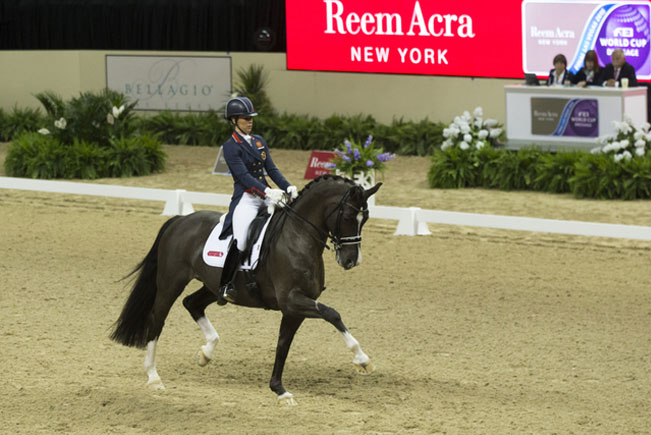 Charlotte Dujardin and Valegro, winning the Grand Prix on the opening day of the Reem Acra FEI World Cup Dressage 2014/2015