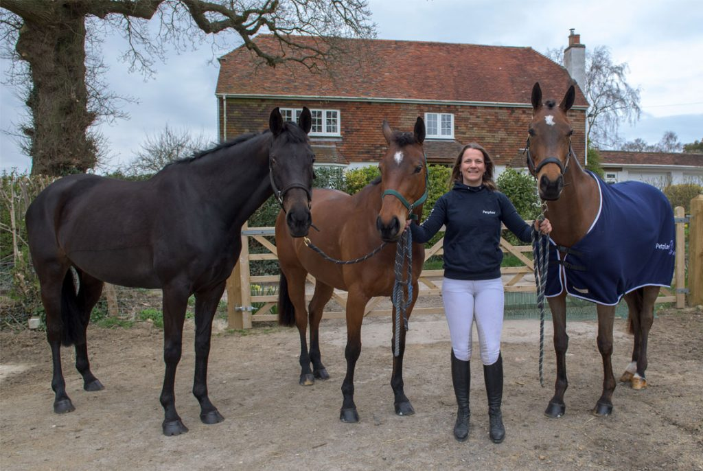 Katie Preston with her three horses