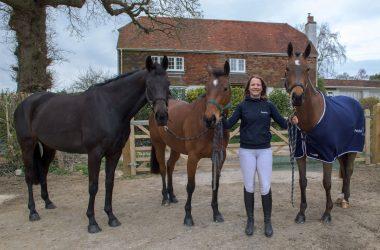 Katie Preston with her three horses